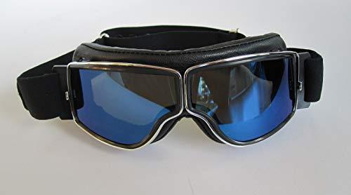 Aviator Motorradbrille T2 Chrom, Leder schwarz, Gläser blau verspiegelt