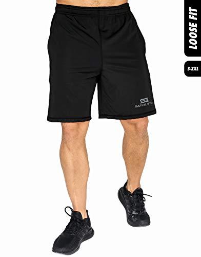 Satire Gym Loose Fit Shorts Herren - Kurze Sport Hose - Bekleidung geeignet für Fitness, Workout & Training, schwarz, L