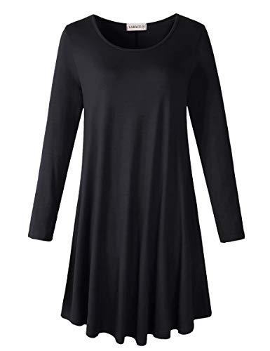 LARACE Women's Plus Size Long Sleeve T Shirt Dresses with Pockets(Black M 01)