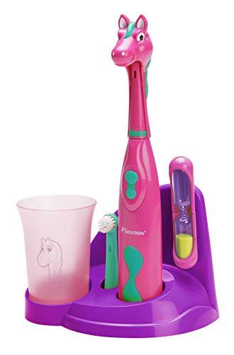 """Bestron Spazzolino da denti elettrico per bambini """"Pretty Pony"""", Con bicchiere per risciacquo, clessidra e base, Funzionamento a batteria, Rosa"""