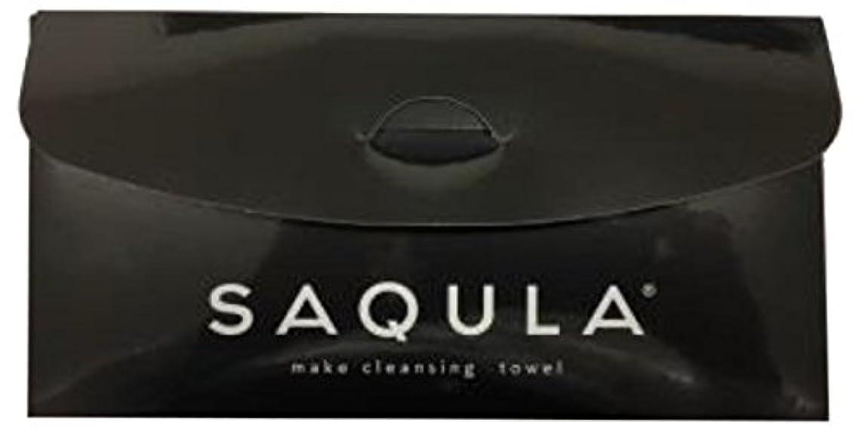 省略満員法律SAQULA クレンジングタオル ブラック テレビで紹介された 水に濡らして拭くだけで簡単にメイクが落とせるクレンジングタオル