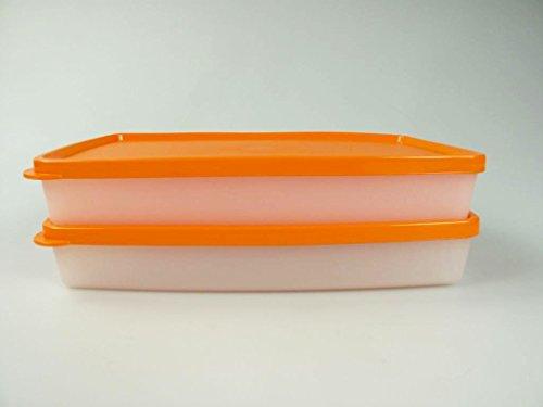 TUPPERWARE Gefrier-Behälter 600 ml flach orange-weiß Behälter (2) Polarstern