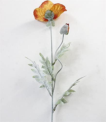 WANGJBH Dried Flowers 5pcs Grosses Fleur de Pavot artificielles avec Feuilles Fleurs de Ventes artificielles pour Automne Maison décoration de la Maison de décoration Fausse Fleurs de Soie Potpourri