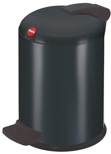 Hailo Design S, Mülleimer aus Stahlblech, 4 Liter, leise und dicht schließender Deckel, breites Fußpedal, made in Germany, 0704-889