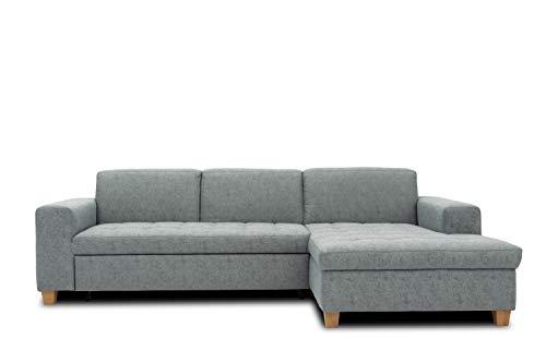 DOMO. collection Sugar Ecksofa, Sofa in L-Form, Eckcouch Polstergarnitur, blau-grau, 266x162x80 cm