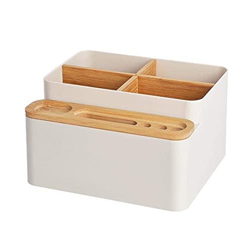 Xnuoyo Organizador Escritorio Multiusos, Organizador Escritorio Caja Caja de Almacenamiento de Mesa de Pplástico de Bambú Se usa para Organizar el Desorden del Escritorio (Blanco)