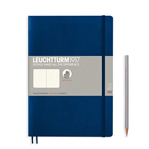 LEUCHTTURM1917 349301 Libreta de notas Composition (B5) tapas blandas, 123 páginas numeradas, puntos, azul marino