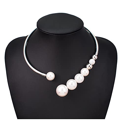 SFQRYP 2021 Metal Torques Simulated Pearl Choker Necklace For Women Punk Jewelry Statement Bib Collar Necklace Fashion Accessories (Metal Color : Silver Necklaces)