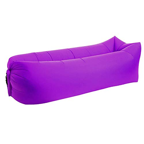 APQMR Sofa Luftcouch Für Camping Gartensofas Faule Tasche Aufblasbare Luft Sofa Strandbett Liegetasche Matratzen Schlafen Lazy Tasche Luft Schlafsofa Bag-Purple_Square