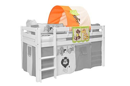 XXL Discount Tunnel + Betttasche Safari Dschungel 100% Baumwolle Stofftasche Baldachin Dach Bettdach Himmel für Hochbett Spielbett Etagenbett Kinderbett