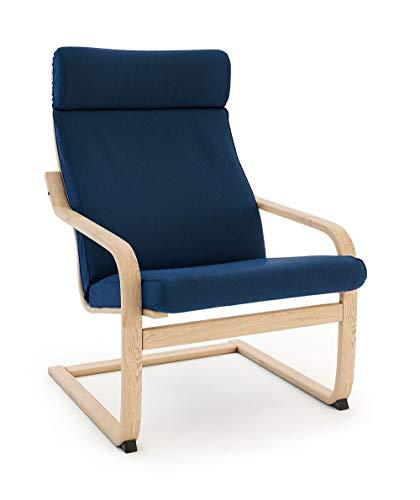 Masters of Covers Ersatzbezug für den Sessel Poäng von Ikea, baumwolle Polyester, Baumwolle - Blau, Cushion Design 1