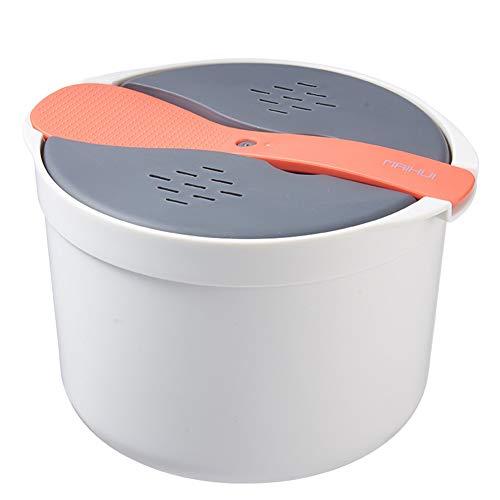 Chutoral Mikrowelle Reiskocher, 2L Multifunktions Kochgeschirr Mikrowellen-Dampfgarer mit Siebdeckel, Heimküche Getreidekocher für Zuhause, Küche, Kochen(orange)