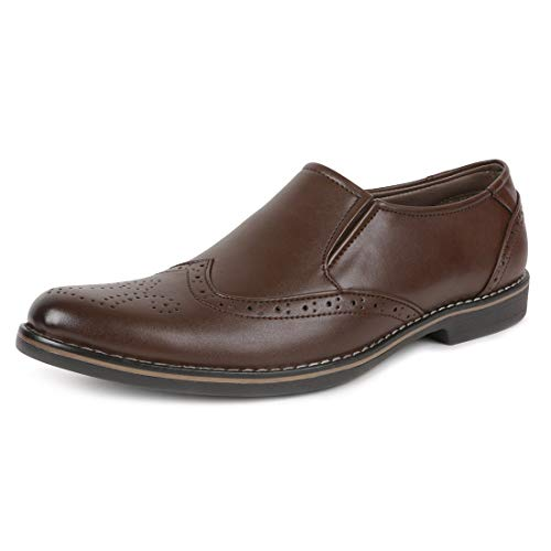 Escaro Everyday Wear Men's Formal Brogue Slip On Dress Shoes (ES1043KB_Brown_10)