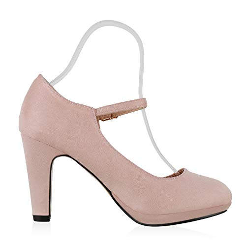 SCARPE VITA Damen Pumps Mary Janes Veloursleder-Optik High Heels Blockabsatz 160330 Rosa 38 - 5
