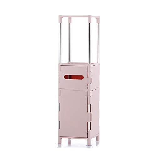 Casiers de rangement Support de rangement au sol pour étagère support d'angle de salle de bain armoire latérale à armoire de rangement à verrouillage multicouche (Color : Pink, Size : 20 * 20 * 75cm)