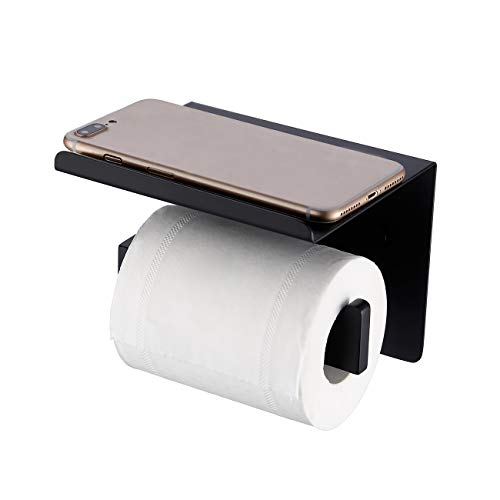 KES Bathroom Toilet Paper Holder with Shelf Wall Mount Toilet Paper Roll Holder with Phone Shelf SUS304 Stainless Steel Matte Black, BPH216S1DG-BK