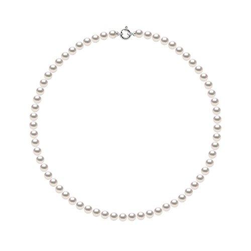 Pearls & Colors - Collier Rang de Véritables Perles de Culture AKOYA Rondes - Origine Japon Certifiée - Qualité AA+ - Or Blanc 750 Millièmes (18 Carats) - Fermoir Anneau Marin Luxe - Bijou Femme
