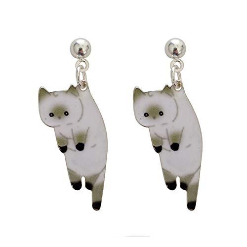 GSZPXF Mujeres de la Moda aretes de Dibujos Animados Gato Pendientes Femeninos Impresión Linda pequeña Pendientes de Gato for Las Mujeres joyería (Color : Imitation Rhodium Plated)