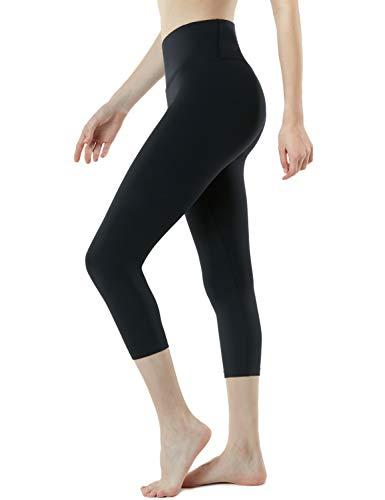 TSLA Yoga Leggings mit Bauch-Kontrolle und hoher Taille für Workout Capri-Pants mit Taschen für Damen, Fyc62 1pack - Black, M