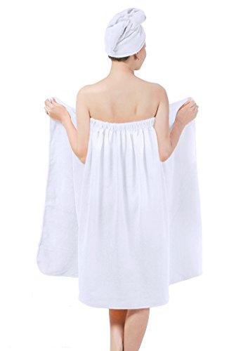 YJZQ: juego de toalla-vestido y toalla-gorro de baño, 2 en 1, en microfibra; la toalla te servirá de vestido y con el gorro podrás secarte cómodamente el pelo; ropa de baño para mujer