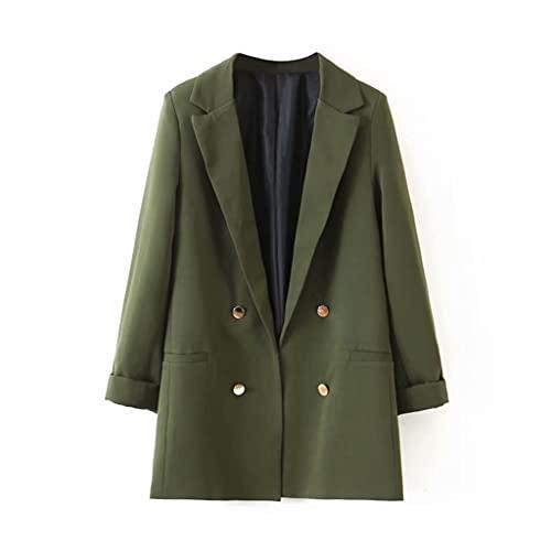 SKREOJF Chaqueta de doble botonadura verde militar para mujer, nueva solapa, manga larga, chaqueta holgada, moda, marea, primavera y otoño (Color : Green, Size : L code)