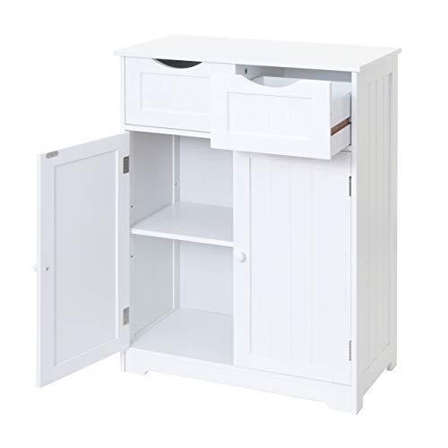 Mendler Kommode HWC-B65, Schubladenschrank Schrank, 2 Schubladen und 2 Türen 80x70x34cm weiß
