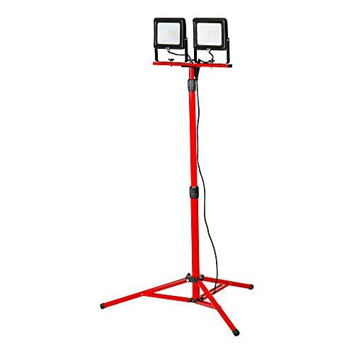 STIER Duo SMD LED Baustrahler Basic+, 2x 2400 Lumen, 2x30 W, mit Stativ Fluter, Strahler, Arbeitsstrahler, LED Arbeitsscheinwerfer, Baustellenlampe, Baulampe, LED Arbeitsleuchte