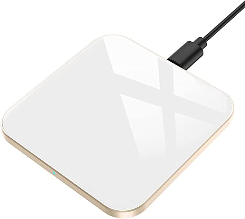 AGPTEK Chargeur sans Fil Rapide 15W, Chargeur à Induction Rapide Qi 15W/10W/7.5W/5W Compatible avec iPhone 13/12/Pro Max/Mini/11/XR/X/8 Plus/Se 2020,Samsung Galaxy,Huawei, Xiaomi,AirPods Pro-Blanc