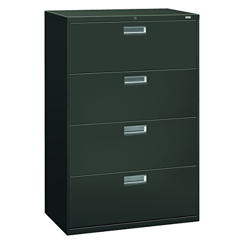 HON 4-Drawer Office Filing Cabinet - 600 Series Lateral Legal or Letter File Cabinet 1975 D Charcoal H684