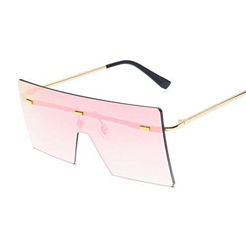 DLSM Vintage Cuadrado SIAMESSE Hembra Gafas de Sol sobredimensionadas para Mujer sin llanta Océano Lente Tonos Grandes de Sol adecuados para Deportes al Aire Libre Playa Golf-Rosa Dorado