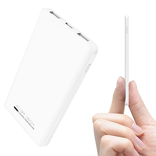 Triple USB Outputs Super Slim Power Bank Ultra Thin, Attom Tech 5000mAh Mini Portable Charger External Phone Battery Pack Small Dual Outlet, Emergency Phone Power Backup (White)
