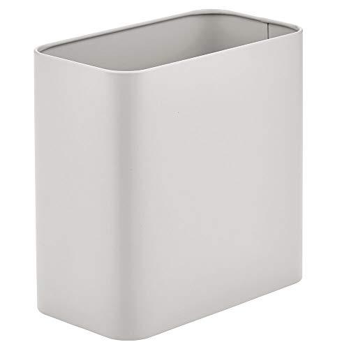 mDesign rechteckiger Mülleimer – kompakter Abfalleimer für Bad, Büro und Küche mit ausreichend Platz für den Müll – Papierkorb aus Metall – hellgrau