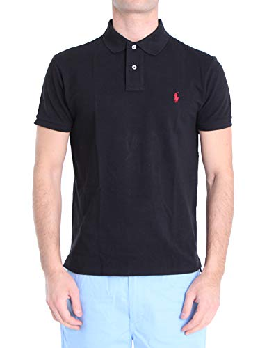 Ralph Lauren Herren Piqué-Polo im Custom-Slim-Fit Schwarz 2XL