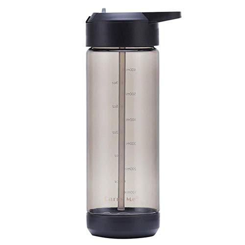 RUIRUI Copa de plástico de la Taza de Agua de los Deportes de 600 ml Portátil con la Escala sellada a Prueba de Fugas Copa de Espacio/al Aire Libre (Color : Gray)