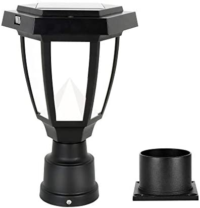 FUDESY LED Outdoor Solar Post Light Fixture Plastic Black Post Lamp Lantern for Garden Post product image