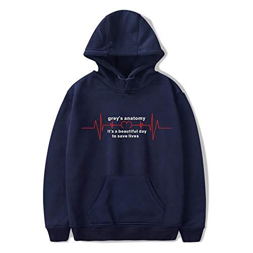 FFFHYTR USA-Fernsehserie Grey\'s Anatomy Langarm-Kapuzenpullover für Herren und Damen Navy Blue B S