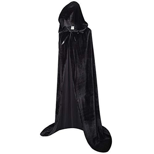 OurLore Unisex Full Length Hooded Robe Cloak Long Velvet Cape Cosplay Costume 59 inch(Black)