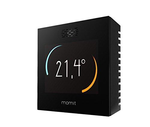 momit Smart Thermostat connecté pour contrôler la climatisation et le chauffage via Smartphone. Écran tactile.