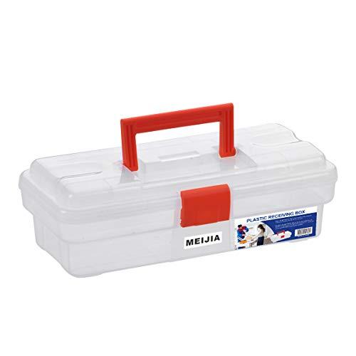 """MEIJIA Caja de almacenamiento de herramientas portátil, organizadores con pestillos plegables y bandeja extraíble, clásico negro y naranja, 12""""x5.9""""x 3.9"""""""