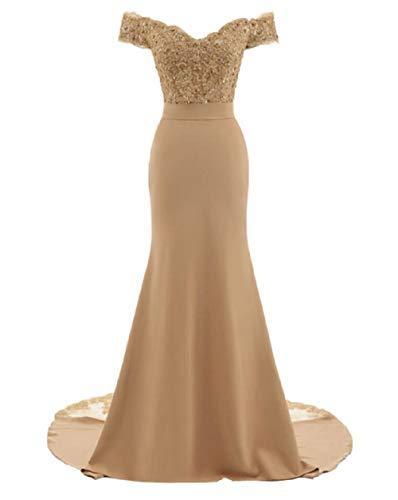 SHANGSHANGXI Trumpet Bridesmaid Dresses Off The Shoulder Lace Appliques Wedding Guest Dress Champagne 4