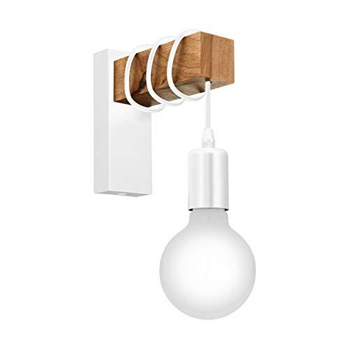 EGLO Wandlampe Townshend, 1 flammige Vintage Wandleuchte im Industrial Design, Retro Lampe aus Stahl und Holz, Farbe: weiß, braun, Fassung: E27