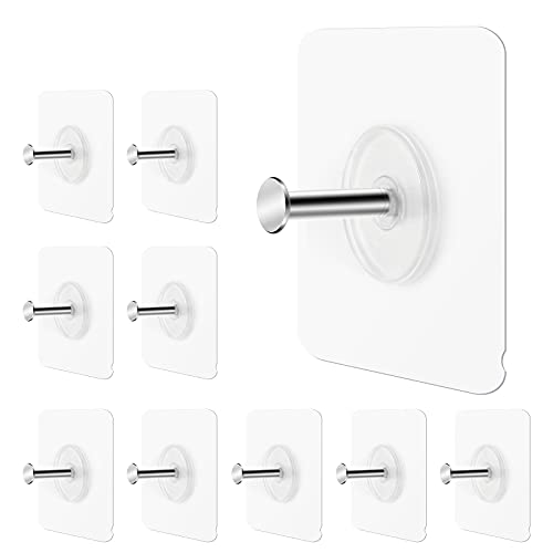 GINMINO Wall Hooks 13.5lbs(Max) Transparent Reusable Adhesive Hooks, Waterproof and Oilproof, Bathroom Kitchen Wall Hooks Heavy Duty 10 Pack