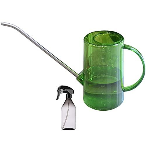 Doinh Regadera para plantas, 34 oz/1 l de acero inoxidable con boquilla larga y botella de spray de 300 ml para regar plantas de interior y exterior, suculentas y flores (verde+gris)