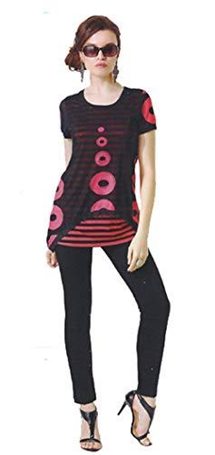 Dzhavael Couture Circles and Stripes Tunic (Black/Orange, Extra Small)