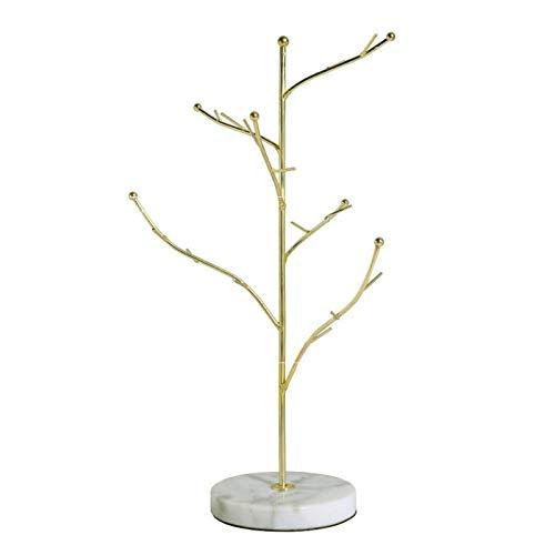 Coriver Schmuck Baum Gold Schmuckhalter Ständer Aufhänger Organizer Schmuck Aufbewahrung Mit Marmor Muster Runde Tablett für Halskette Ohrring Ring