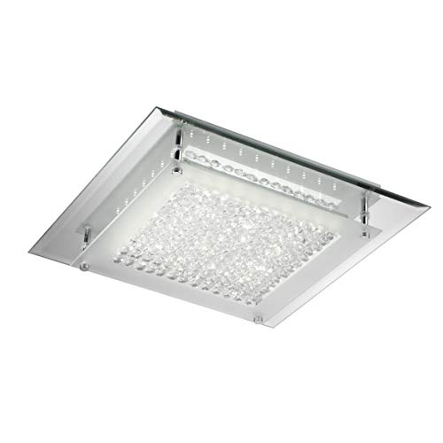 ONLI Plafoniera LED Integrato 18W 4000K Moderna con Base a Specchio, Vetro e Cristalli, Cromato,, specchio;vetro;cristalli