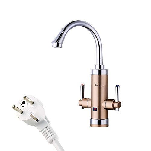 LXYZ Grifo para Calentador de Agua de Cocina, Dos manijas, 3400W, Grifo eléctrico instantáneo para Agua Caliente, Cocina Torneira Aquecedor, no es una Caldera, Dorado