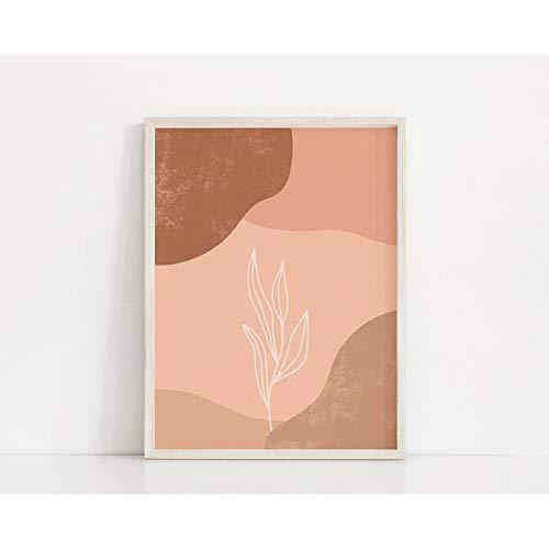 MINMIN Pintura en Lienzo Pastel Plant Art Print Tono Rosado Poster Color Block Art Botanical Imprimible Plant Print Regalo de cumpleaños -24x32inch