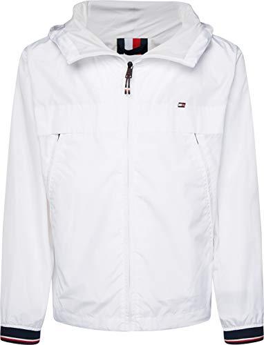 Tommy Hilfiger Herren Light Weight Hooded Jacket Bomberjacke, Weiß (White Ybr), Medium