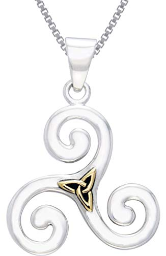 Jewelry Trends Celtic Triskele with Gold-Plated Trinity Knot Sterling Silver Pendant Necklace 18'
